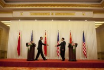 President Barack Obama and Chinese President Hu Jintao reach out to shake hands after a press conference at the Great Hall of the People in Beijing, China, Nov. 17, 2009. (Official White House Photo by Pete Souza)