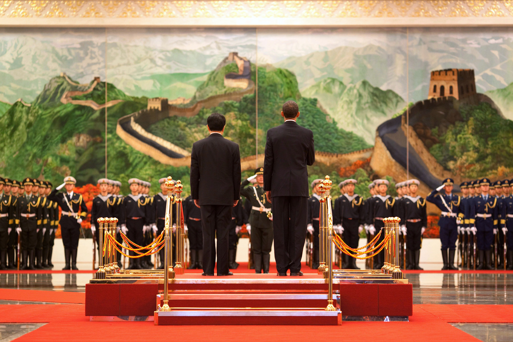 President Barack Obama and Chinese President Hu Jintao participate in an official arrival ceremony at the Great Hall of the People in Beijing, China, Nov. 17, 2009. (Official White House Photo by Pete Souza)