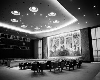 View of the Security Council chamber. This chamber, donated to the UN by Norway, was decorated by Arneberg with a mural by Per Krogh. Besides the delegates, each council chamber accommodates 400 visitors and 120 press correspondents.