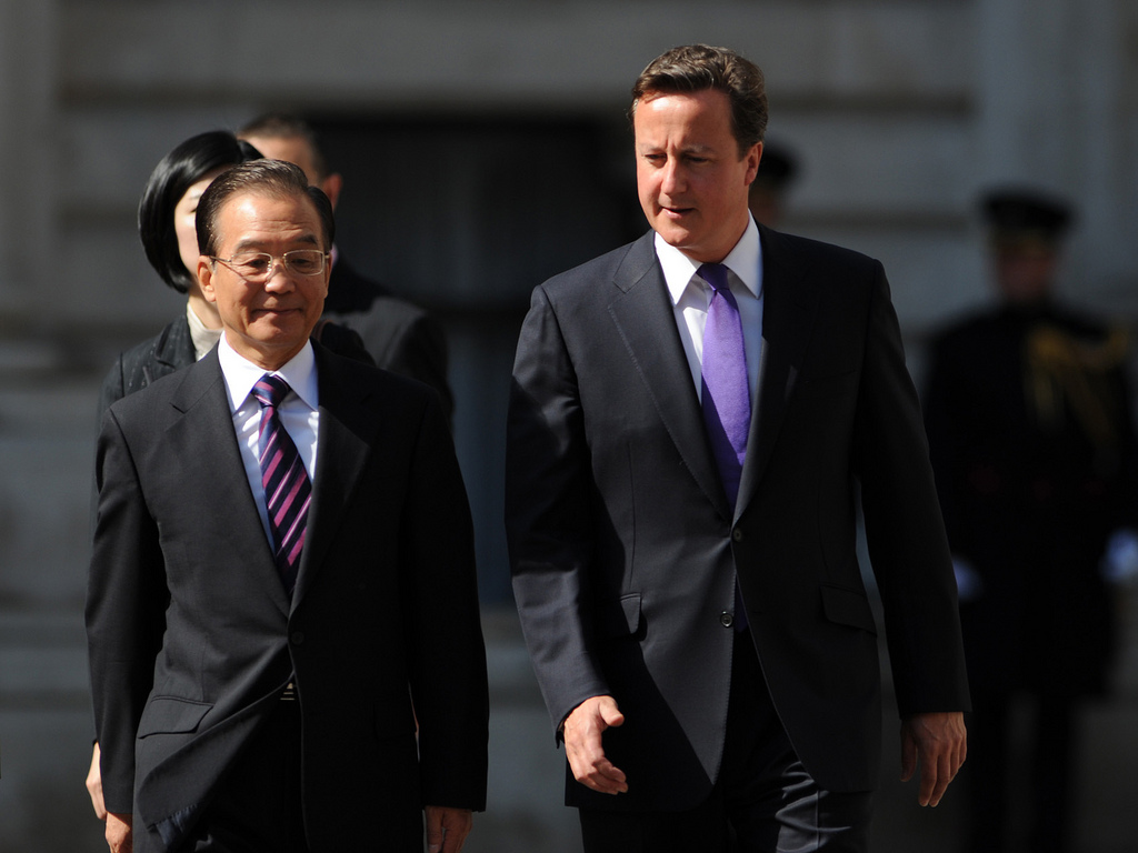 Prime Minister David Cameron welcoming Chinese Premier Wen to Number 10 for the UK-China Summit, 27 June 2011.
