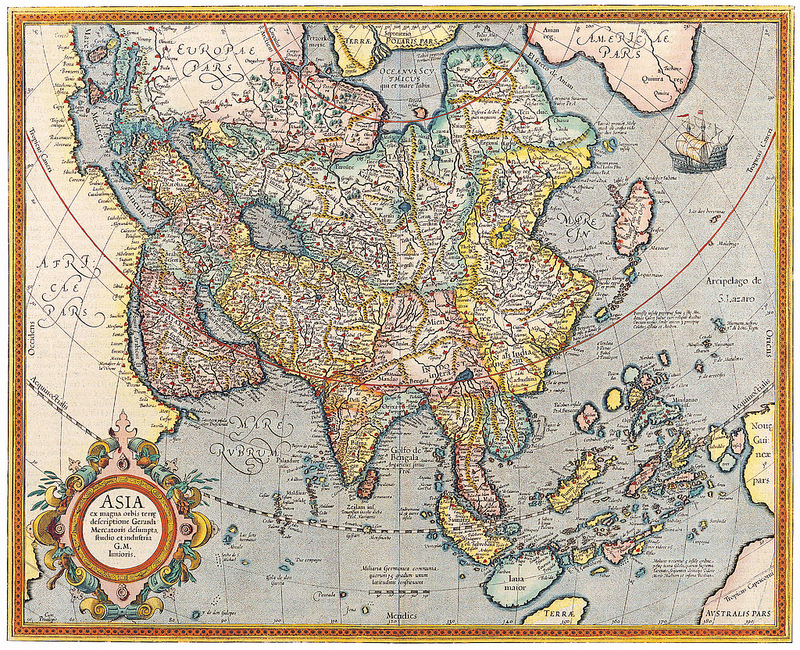 Map of Asia Jodocus Hondius c 1620
