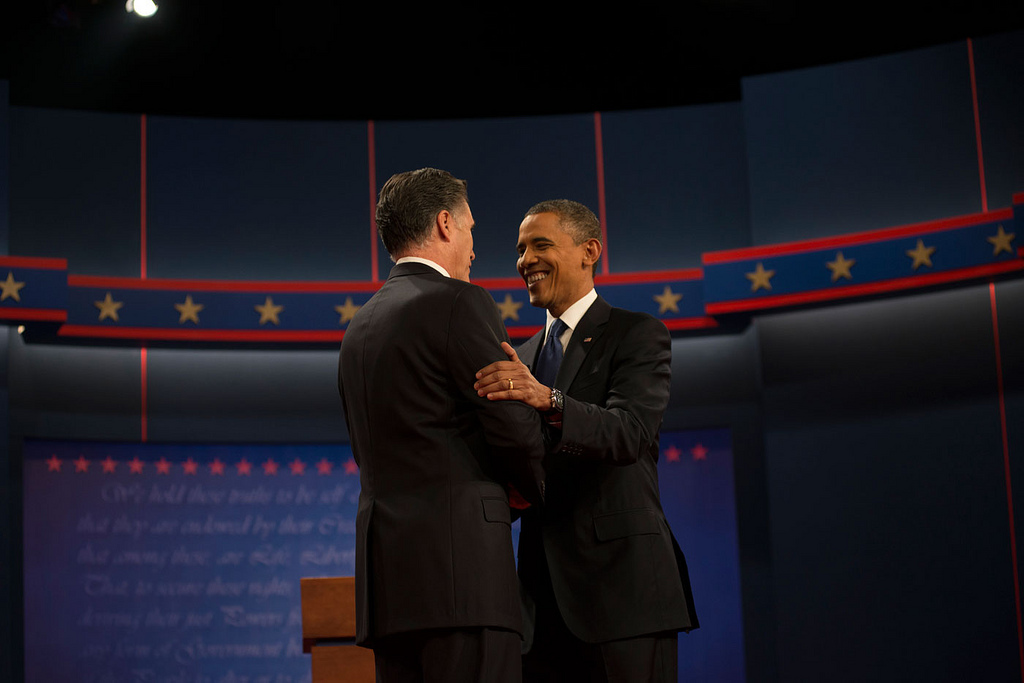 Governor Romney and President Obama during the second Presidential debate, 3 October 2012