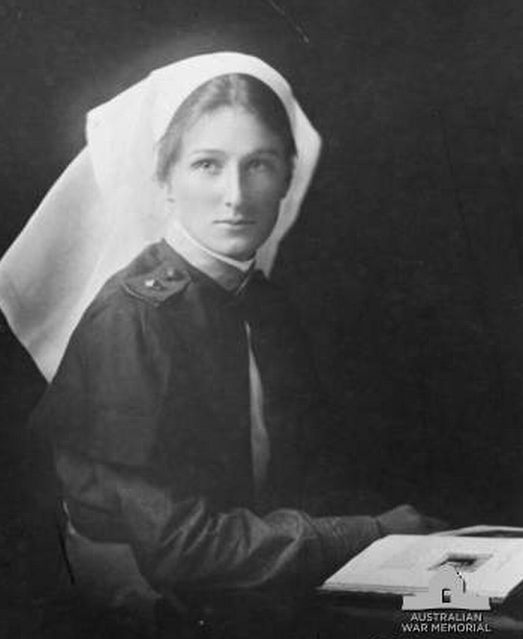 Studio portrait of Staff Nurse (SN) Christine Erica Strom, Australian Army Nursing Service, of Rydalmere, NSW, in uniform. SN Strom enlisted on 12 April 1917 as a staff nurse and embarked from Melbourne aboard RMS Mooltan on 12 June 1917. She went on to serve in British hospitals in Salonika. She returned to Australia in 1919.
