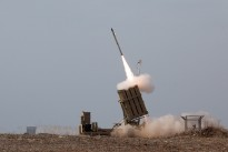 Iron Dome system in Ashdod intercepts a rocket fired from the Gaza Strip.