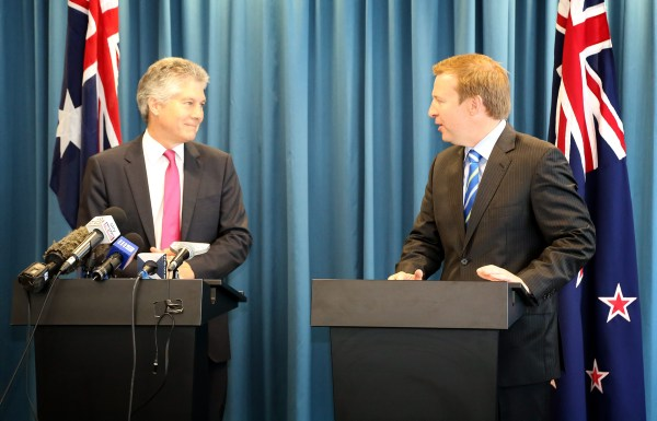 The Minister for Defence Stephen Smith (left) and Dr. Jonathan Coleman, Australia's and New Zealand's Defence Ministers, respectively at the press conference held on completion of the Minister's Annual Meeting at the Commonwealth Parliamentary Offices, Perth WA