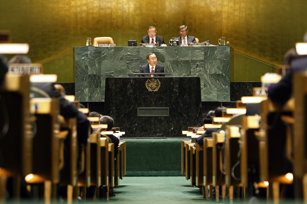 UN Secretary-General urges nations to make nuclear disarmament targets a reality at the NPT conference. Image courtesy of Flickr user United Nations Photo.