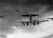 B-17 Flying Fortresses of the 8th Air Force over Germany in 1945. Image courtesy United States Air Force.