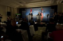 The Secretary of Defense Leon E. Panetta and Minister of Defense Peter MacKay of Canada hold a press conference to open the Halifax International Security Forum on November 18, 2011 in Halifax, Nova Scotia.