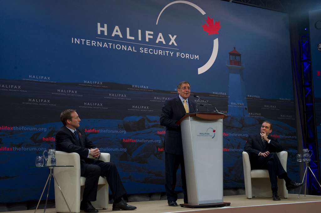 The Secretary of Defense Leon E. Panetta and Minister of Defense Peter MacKay of Canada make opening statements at the Halifax International Security Forum on November 18, 2011 in Halifax, Nova Scotia