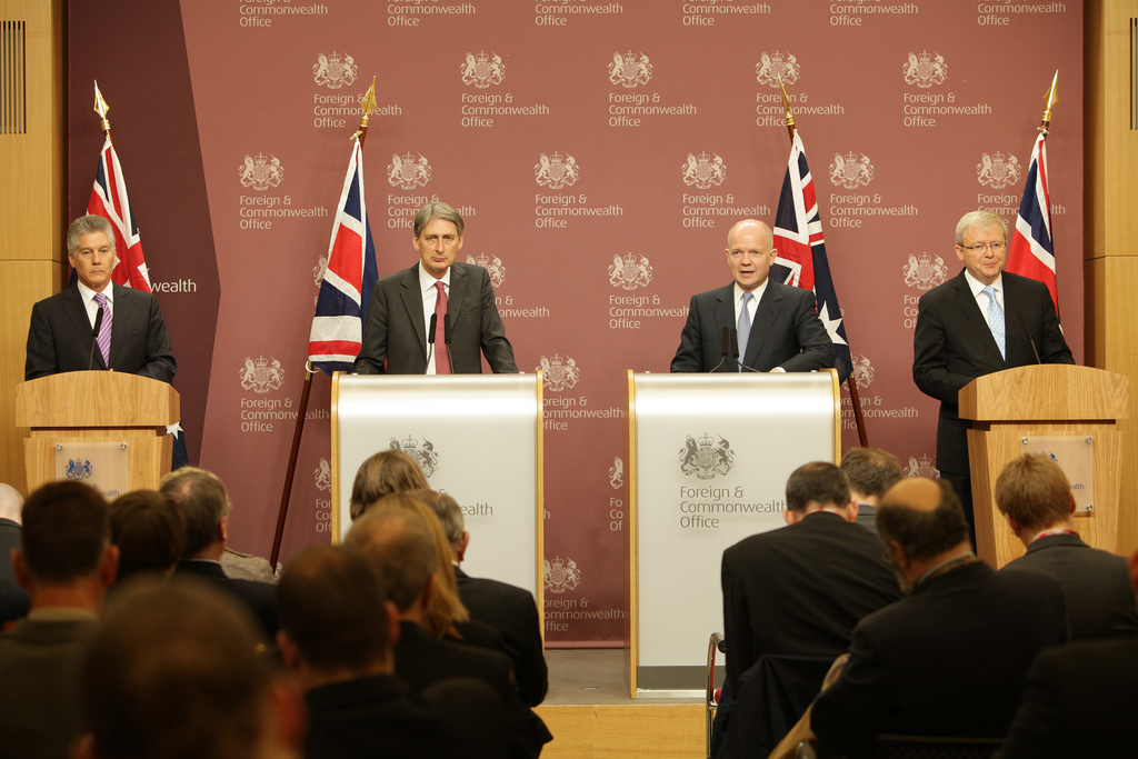 AUKMIN press conference: Foreign Secretary William Hague with Secretary of State for Defence Philip Hammond and Kevin Rudd, Minister for Foreign Affairs of Australia with Stephen Smith, Minister for Defence of Australia answer questions from the media at a press conference in London, 24 January 2012.