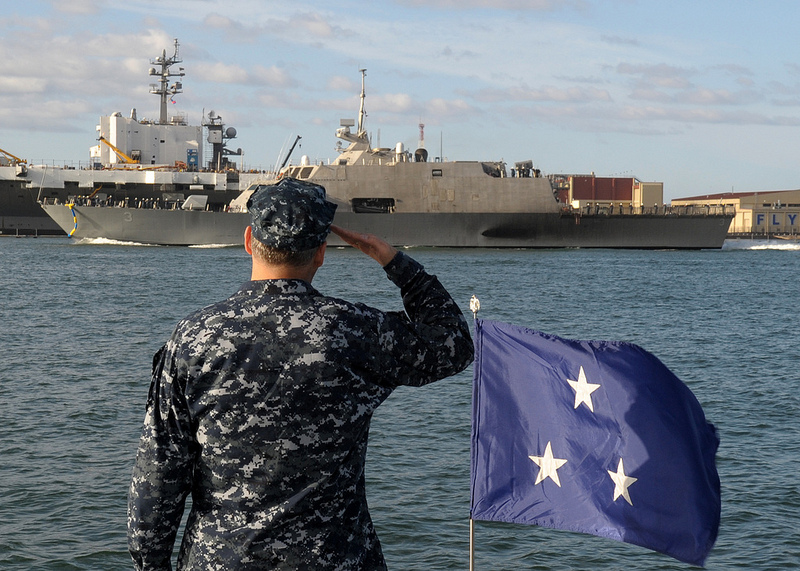 SAN DIEGO (Oct. 18, 2012) Vice Adm. Tom Copeman, commander of Naval Surface Force, U.S. Pacific Fleet, renders a salute during a pass in review by the Freedom-class littoral combat ship USS Fort Worth (LCS 3) as she arrives in San Diego. Fort Worth was commissioned Sept. 22, 2012, in Galveston, Texas, and will be assigned to U.S. Pacific Fleet.