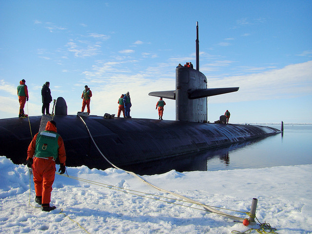 ARCTIC OCEAN (July 1, 2008) The fast attack submarine USS Providence (SSN 719) is moored at the North Pole in the Arctic Ocean to commemorate the 50th anniversary of the first submarine polar transit completed by the USS Nautilus (SSN 571) in 1958. Providence is en route to the U.S. 7th Fleet area of responsibility from its homeport in Groton Conn. (U.S. Navy photo by Yoeman 1st Class J. Thompson/Released)