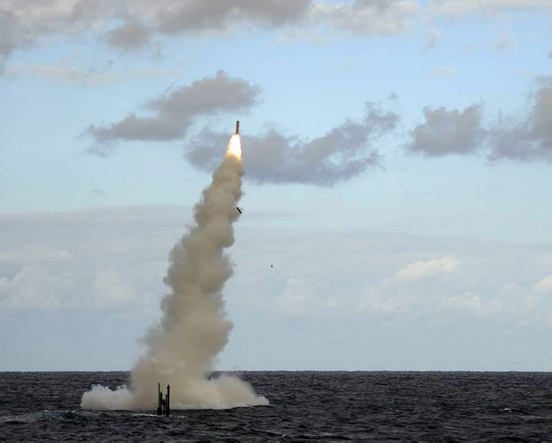 oyal  Navy Submarine HMS Astute Fires a Tomahawk Cruise Missile (TLAM) During Testing Near the USA