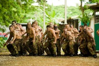 Members of TG Rata 8 perform a Haka to welcome TG Rata 9 onto the RAMSI Compound.