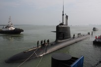 Malaysia's first Scorpene-class diesel-electric submarine docked at its Naval base in Port Klang on the outskirts of Kuala Lumpur on September 3, 2009.