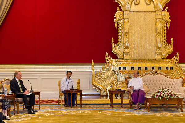 Australian Foreign Minister Bob Carr meets with President U Thein Sein at the Presidential Palace in Naypyitaw, Myanmar, on June 7, 2012.  Photo: Christopher Davy