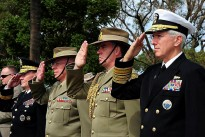 General Martin E. Dempsey, salutes with Chief of the Defence Force General David Hurley, Major General Tim McOwan and Chairman, United States Joint Chiefs of Staff and Admiral Samuel Locklear, Commander, United States Pacific Command as they pay respects at the Western Australia State War Memorial.