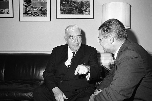 Robert Menzies meets with US Secretary of Defense Robert McNamara at the Pentagon. 24 June 1964.
