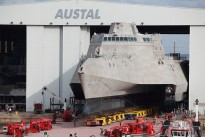 he littoral combat ship Pre-Commissioning Unit (PCU) Coronado (LCS 4) is rolled-out at the Austal USA assembly bay.