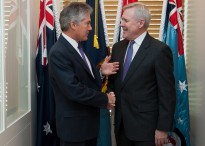Secretary of the Navy (SECNAV) Ray Mabus meets with Australian Minister for Defense Stephen Smith at the Parliament House April 2, 2012.