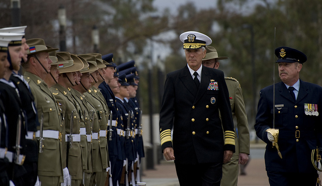 CANBERRA, Australia (Jul. 12, 2012) – Commander, United States Pacific Command (USPACOM,) Adm. Samuel Locklear, meets with The Chief of Australian Defence Force, Gen. David Hurley