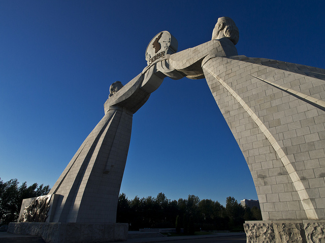 Arch of Reunification is on the entrance of Pyongyang.