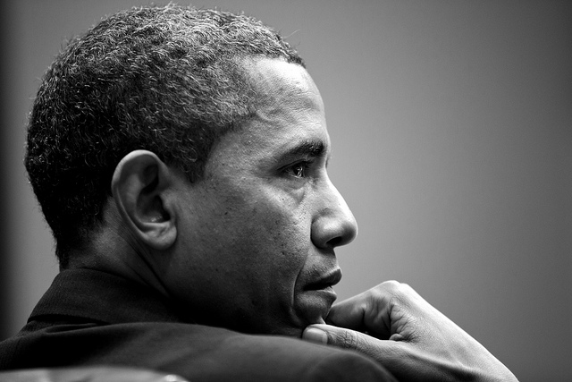 President Barack Obama attends a meeting in the Roosevelt Room of the White House, Jan. 28, 2013.