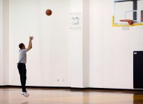 President Barack Obama warms up before playing a basketball game at Fort McNair in Washington, D.C. on Saturday, May 9, 2009.