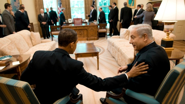 President Barack Obama meets with Israeli Prime Minister Benjamin Netanyahu in the Oval Office. May 18 2009.