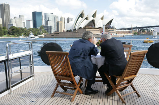 President George W. Bush and Prime Minister John Howard of Australia, talk as they tour Sydney Harbour Wednesday, Sept. 5, 2007.