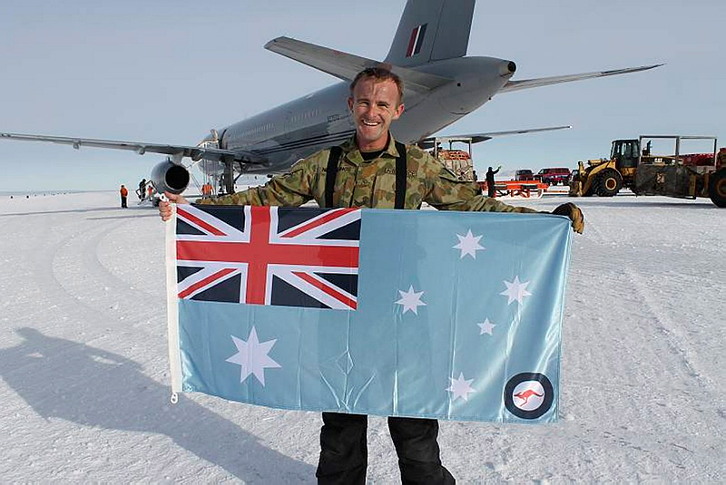 Corporal Marc Neiberding in Antarctica with the Royal New Zealand Air Force in February this year.