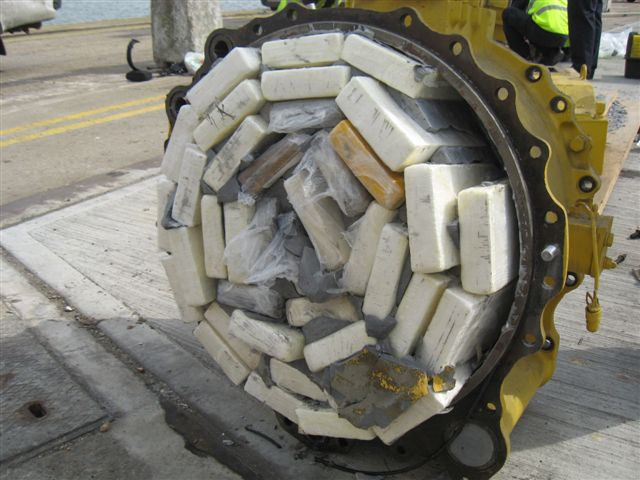 Cocaine hidden in machinery