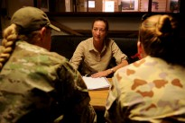 Ms Gai Brodtmann MP speaks with female members of the Australian Defence Force about their experiences as part of Female Engagement Team (FET) missions in Southern Afghanistan.