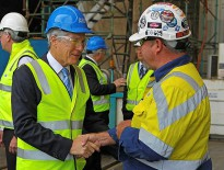 Minister for Defence, Stephen Smith talks to one of the ASC (formerly Australian Submarine Corporation) employees during his visit to ASC.
