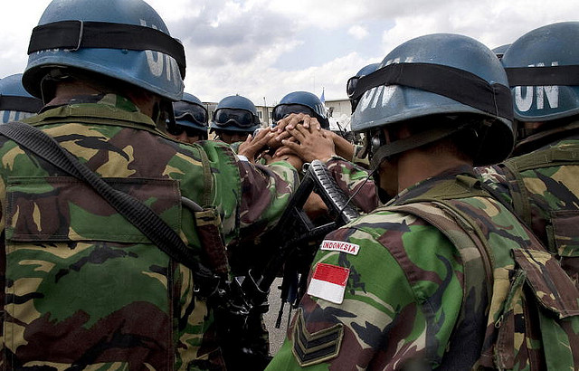 Indonesian peacekeepers with the United Nations Interim Force in Lebanon (UNIFIL) prepare to leave their base for a patrol near Al-Taybe, South Lebanon.