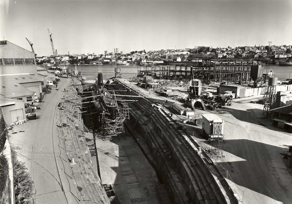 Oberon class HMAS Oxley sits in Fitzroy Dock at Cockatoo Island dockyard, in an Intermediate docking, 1970.