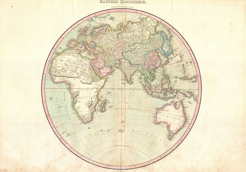 A rare 1818 map of the Eastern Hemisphere by John Pinkerton. Depicts Asia, Europe, Africa and Australia.