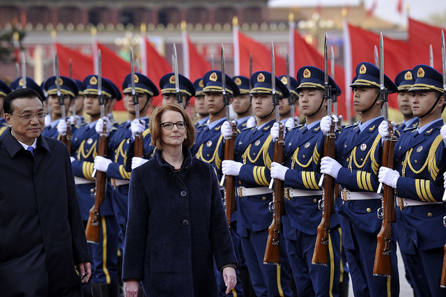 PM Gillard meets with HE Mr Li Keqiang, Premier of the People's Republic of China. Ministers Carr, Emerson and Shorten were there. Ceremonial welcome and Witnesses Signing Ceremony . Great Hall of the People, Beijing , Prime Minister Gillard, Overseas visit to China 9 April 2013