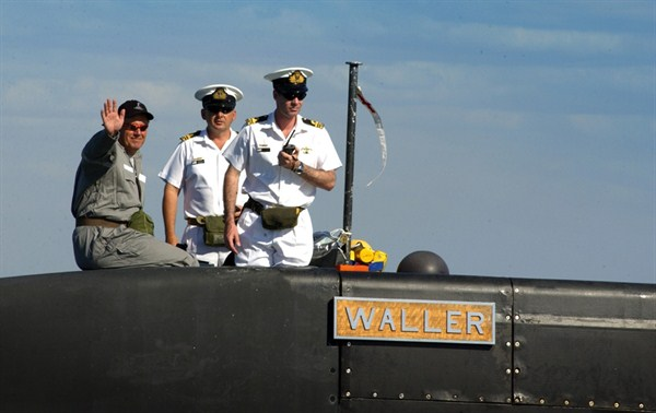 Senator Johnston onboard HMAS Waller, a Collins Class submarine.