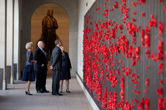 President Barack Obama tours the Australian War Memorial with Governor-General Quentin Bryce, War Memorial Chairman Peter Cosgrove, and Prime Minister Julia Gillard in Canberra, Australia, Nov.17, 2011.