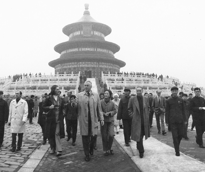 Prime Minister E. G. Whitlam and Mrs Whitlam in front of the Temple of Heaven, Beijing, during Whitlam's visit to China in 1973.