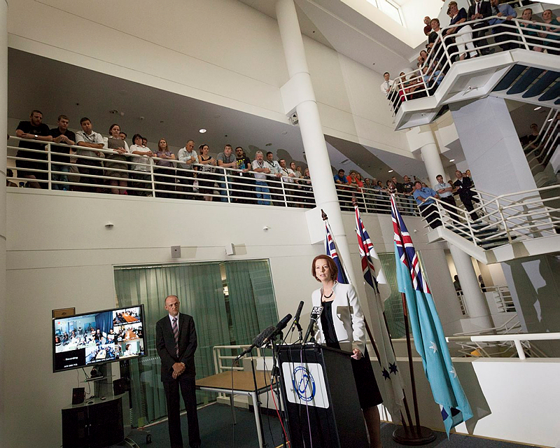 A new Australian Cyber Security Centre (ASCS) will be established in Canberra to boost the country's ability to protect against cyber-attacks, Prime Minister Julia Gillard announced Thursday 24 January 2013.  Making the announcement at the Defence Signals Directorate's Cyber Security Operations Centre, Ms Gillard said that by drawing on the skills of the nation's best cyber security experts, the ACSC will help ensure Australian networks are among the hardest to compromise in the world