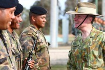 Australia's Chief of Army Lieutenant General (LTGEN) David Morrison talks to Tongan soldiers during a visit to AASAM.