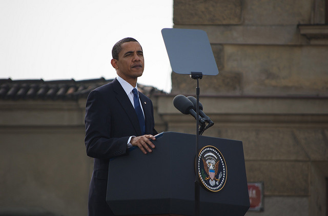 President Obama on April 5th 2009 in Prague, Czech Republic, giving his landmark speech on eliminating nuclear weapons. ''...today, I state clearly and with conviction America's commitment to seek the peace and security of a world without nuclear weapons.""