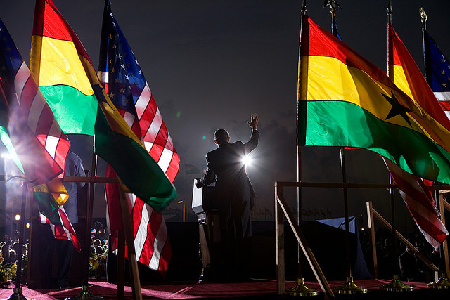 President Barack Obama speaks to the crowd at the departure ceremony at Accra airport in Ghana, 2009.
