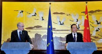 Herman Van Rompuy, President of the European Council, and Wen Jiabao, Prime Minister of China, at the EU-China Summit 2012