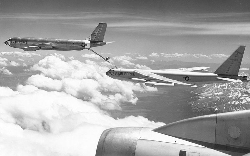 Boeing US Air Force B-52 being refueled by a Boeing KC-135A. Nuclear-armed B-52s were a key element of Nixon Doctrine-era nuclear deterrence.