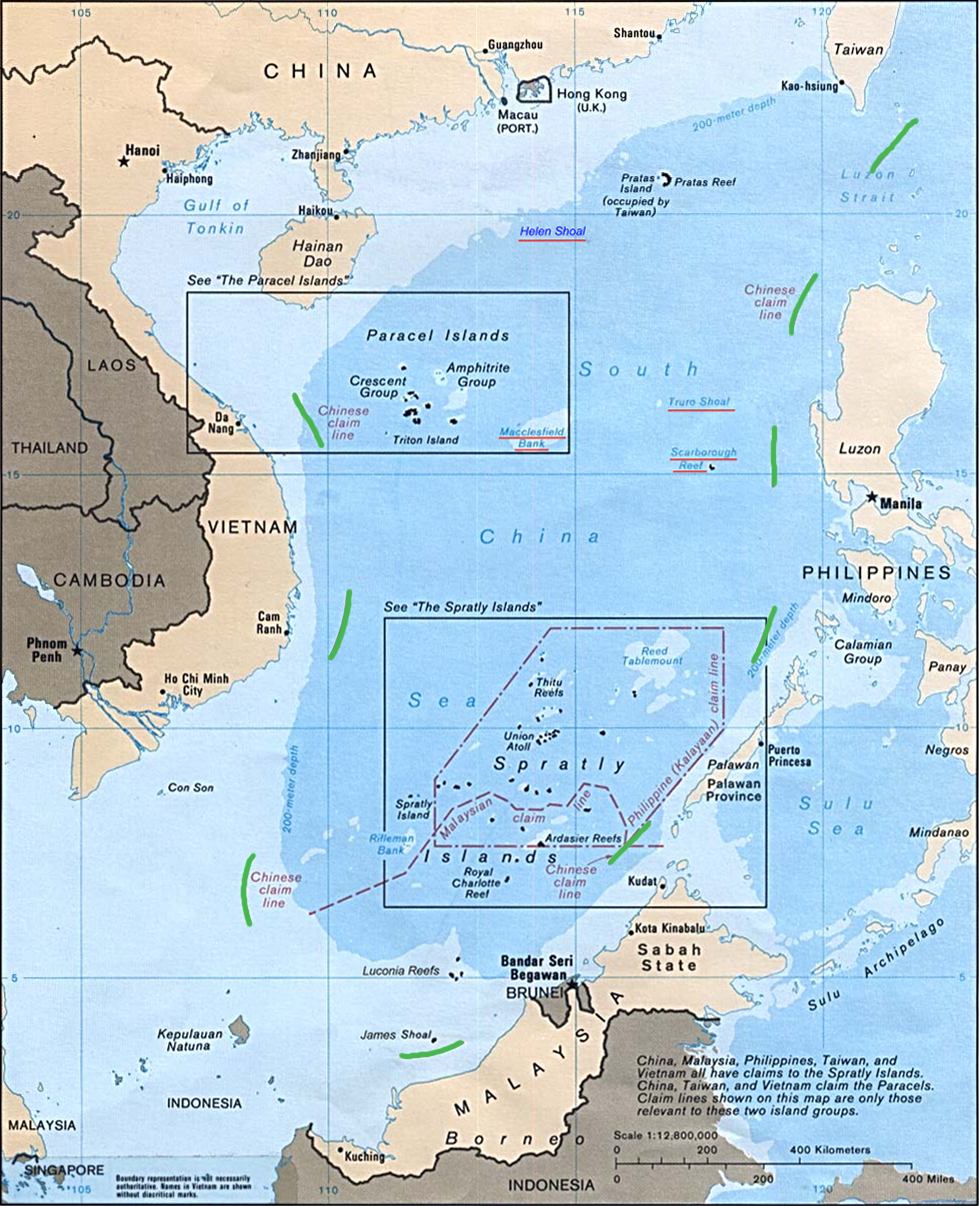 Map showing nine-dash line