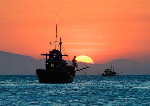 Sunset on the South China Sea off Mui Ne village on the south-east coast of Vietnam
