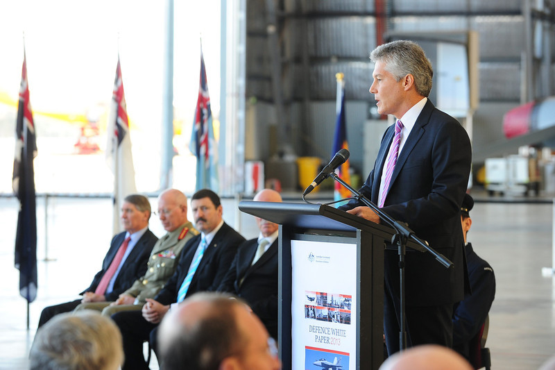 The Minister for Defence, Stephen Smith presents the details of the 2013 Defence White Paper at Fairbairn Defence Establishment Canberra, on May 3, 2013.